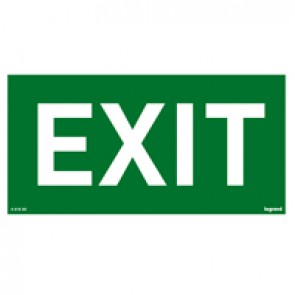 Label - for emergency lighting luminaires - EXIT - 100 x 200 mm