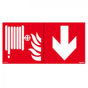 Label - for emergency lighting luminaires - fire horse below - 100 x 200 mm