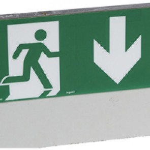 Label - for emergency lighting luminaires - exit door below - 127 x 254 mm