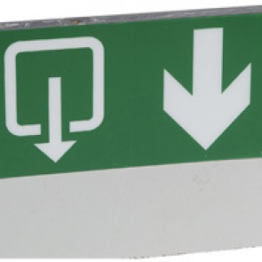 Label - for emergency lighting luminaires - exit below with lift -127x254 mm