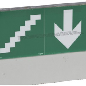 Label - for emergency lighting luminaires - stairs below - 127 x 254 mm