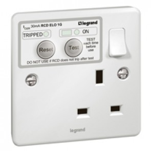 RCD socket Synergy - 1 gang - ELO - Double pole 30 mA - 13 A 250 V~ - white