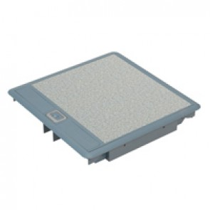Floor box - 3 compartments - Grey cover RAL 7031 with rigid cable exits
