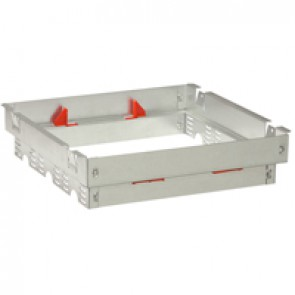 Support frame for modular backbox for raised floors - 3 compartments