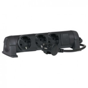 Multi-outlet extension - German standard - 3x2P+E - switched - 1.5 m cord - black