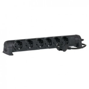 Multi-outlet extension - German standard - 6x2P+E - switched - 1.5 m cord - black