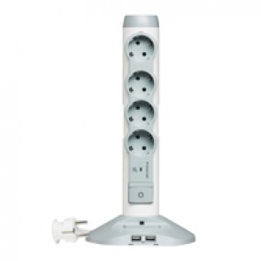 Multi-outlet extension - German standard - 4x2P+E+ 1 socket 2 USB charger -white/grey