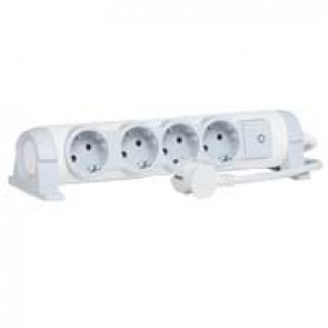 Multi-outlet extension for comfort - 4x2P+E orientable - 3 m cord