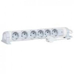 Multi-outlet extension for comfort - 6x2P+E orientable - 1.5 m cord