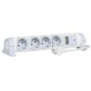 Multi-outlet extension for comfort/safety - 4x2P+E + indicator - 1.5 m cord