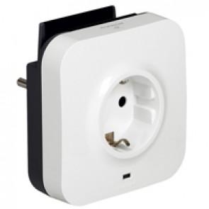 Protected socket - German standard - 2P+E + 2xUSB + phone - volt surge protector