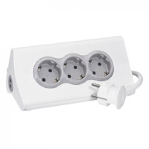 Multi-outlet extension with tablet support - German standard - 3x2P+E + 2 USB Type A - switched - 1.5 m cord -white/grey