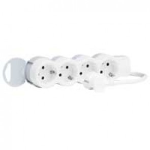 Multi-outlet extension - 4x2P+E - 3 m cord