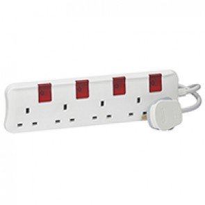 British standard multi-outlet extension - 4x2P+E - one switch per socket - 3 m cord