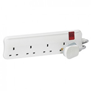 British standard multi-outlet extension - 4x2P+E - one switch per cord - 3 m cord