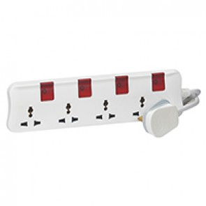 Multi-standard multi-outlet extension - 4x2P+E - 3 m cord