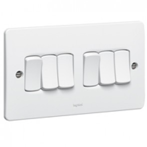 Single pole switch Synergy - 6 gang - 2 way - 10 AX 250 V~ - white