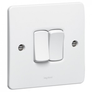 Single pole switch Synergy - 2 gang - 2 way - 10 AX 250 V~ - white