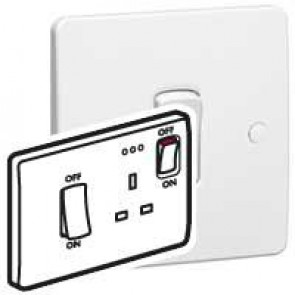 Cooker control unit Synergy - Double pole switch + Double pole socket - white