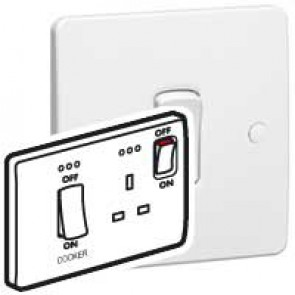 Cooker control unit Synergy - Double pole switch + Double pole socket + indicator - white