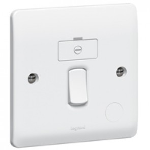 Fused connection unit Synergy - Double pole switched + cord outlet - white