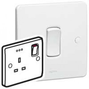 Double pole socket outlet Synergy - 1 gang + indicator - 13 A 250 V~ - white
