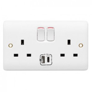 Socket outlet with USB charger Synergy - single pole switched - 2 gang - white