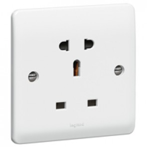 Socket outlet Synergy - UK/Euro-US standard - 1 gang unswitched - white