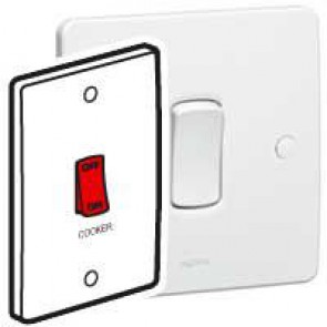 Double pole switch Synergy - Double pole red rocker - 45 A 250 V~ - 146x86 mm - white