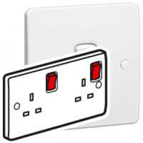 Double pole socket outlet Synergy - 2 gang red rocker - 13 A 250 V~ - white
