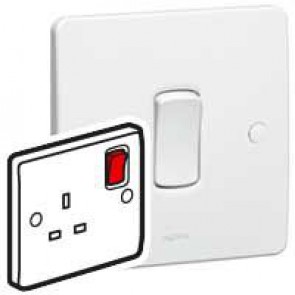 Double pole socket outlet Synergy - 1 gang red rocker - 13 A 250 V~ - white