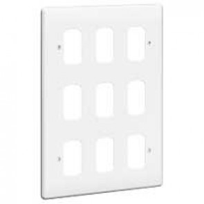 Front plate Synergy - for 9 Grid modules - 3x2 gang - white