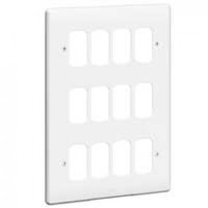 Front plate Synergy - for 12 Grid modules - 3x2 gang - white