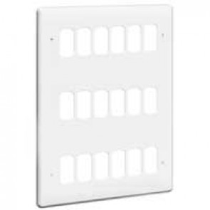Front plate Synergy - for 18 Grid modules - 3x3 gang - white