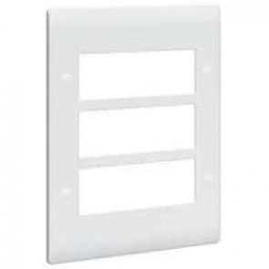 Front plate Synergy - for 18 Mosaic modules - 3x3 gang - white