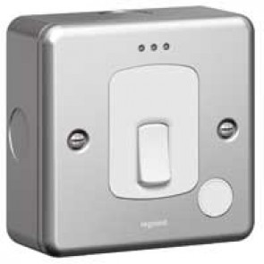 Double pole switch Synergy - cord outlet + Led - 20 A 250 V~ - metalclad