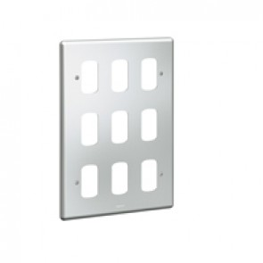 Front plate Synergy - for 9 Grid modules - 3x2 gang - metalclad