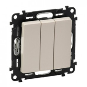 3-gang one-way switch Valena Life - 10 AX 250 V~ - with cover plate - ivory