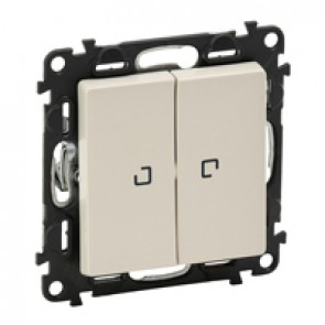 Illuminated 2-gang 1-way switch Valena Life - 10 AX 250 V~ - ivory