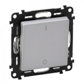 Double pole switch Valena Life - 16 AX 250 V~ - with cover plate - aluminium