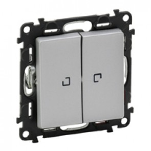 Illuminated 2-gang 2-way switch Valena Life - 10 AX 250 V~ - aluminium