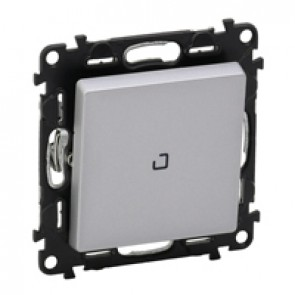 Illuminated one-way switch Valena Life - 10 AX 250 V~ - with cover plate - alu