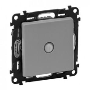 Energy saving switch Valena Life - 10 AX 250 V~ - with cover plate - aluminium