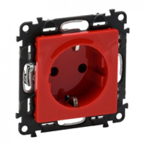 2P+E socket with shutters Valena Life - red - German standard - 16 A 250 V~