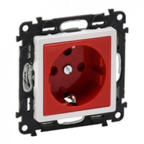2P+E socket with shutters Valena Life -red tamperproof -German standard -16 A -250 V~