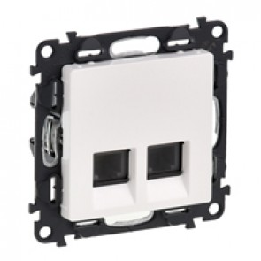 Double RJ 11 telephone socket Valena Life - with cover plate - white