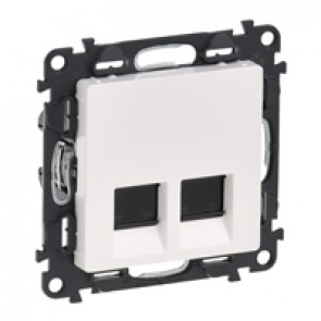 Double RJ 45 socket Valena Life - category 5e UTP - with cover plate - white