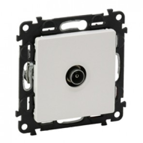 Male TV star socket Valena Life - attenuation 1 dB - with cover plate - white