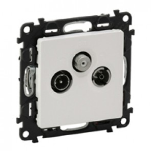 TV-R-SAT passthrough socket Valena Life - attenuation 14 dB French - white