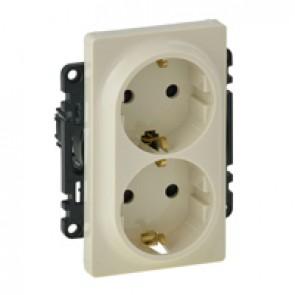 Double socket Valena Life - German standard - VDE compliant - 16 A 250 V~ - ivory